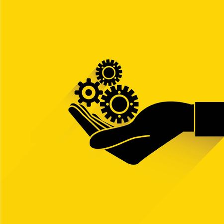 operating system: systematic concept, hand hold gear Illustration