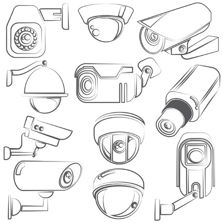 cctv: sketch CCTV, video surveillance set