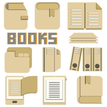 book and document icons, cardboard theme Vector