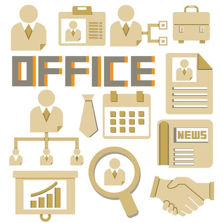 office and organization icons, cardboard theme Vector