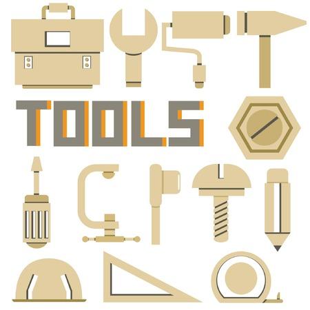 recondition: tools icons set, cardboard theme Illustration