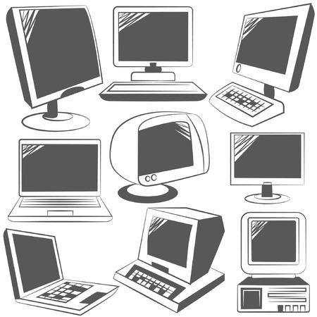 communications equipment: retro computer set