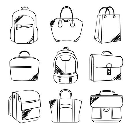 sketch fashion bag set Vector