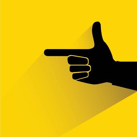 hand gun:  index finger, gun hand, hand pointer