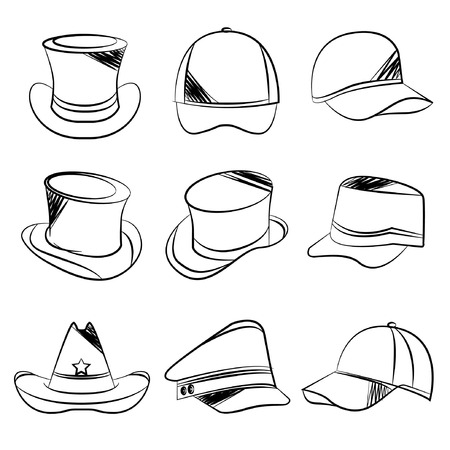 headgear: sketch hat icons Illustration
