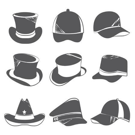 headgear: hat icons Illustration