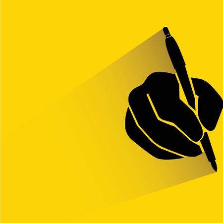 treatise: hand holding pen, writing