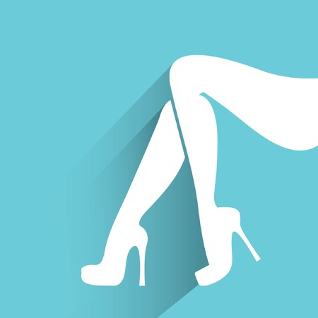 smooth shadow: women legs in blue background Illustration