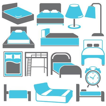bed and furniture set, interior furniture Vector