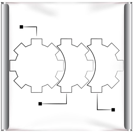 procession: projector screen gears flow