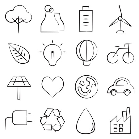 car plug: sketch ecology icons Illustration