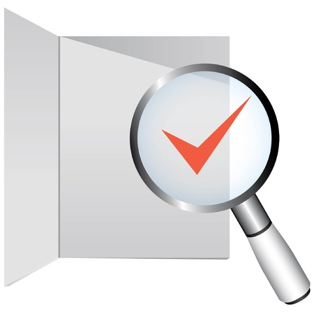 monograph: magnifier glass and check mark