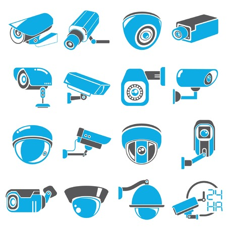 electronic security: cctv camera icons