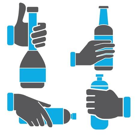 potation: hand holding bottle set Illustration