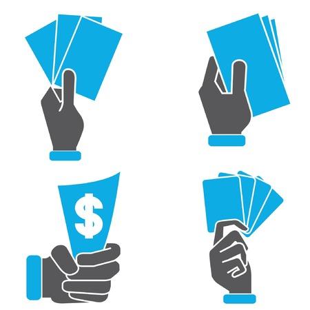 hand holding card: hand holding card, geld Stock Illustratie