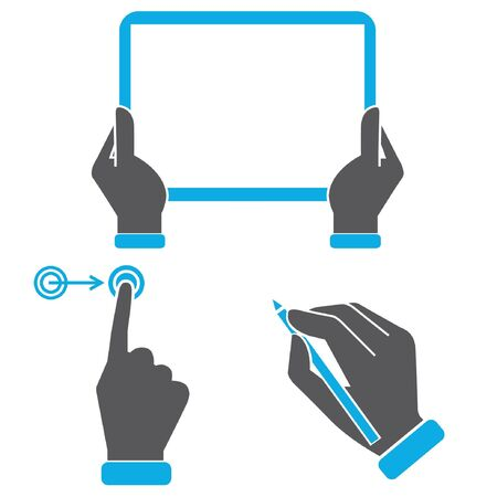 multi touch: hand holding tablet