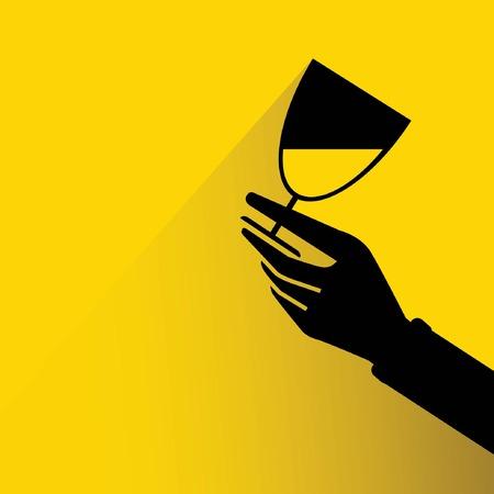claret: hand holding wine glass Illustration