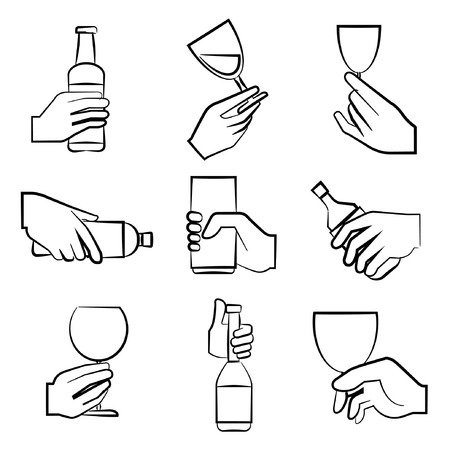 sketch hand holding glass Vector