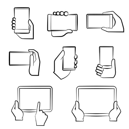 holding smart phone: sketch hand holding smart phone
