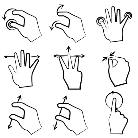 multi touch: touch screen gesture Illustration