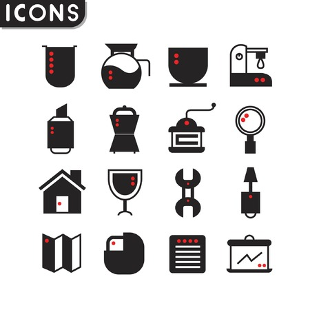alcohol screwdriver: coffee and web icons