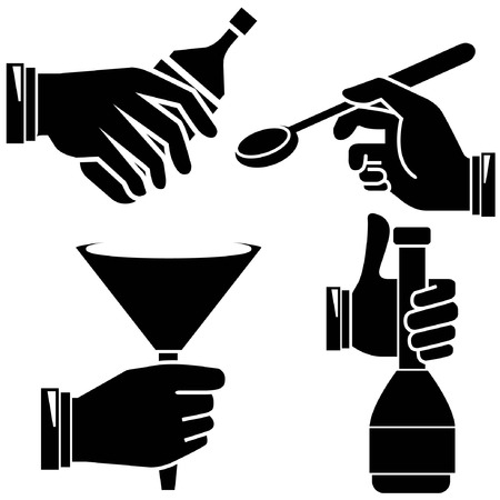 intoxicant: hand holding objects Illustration