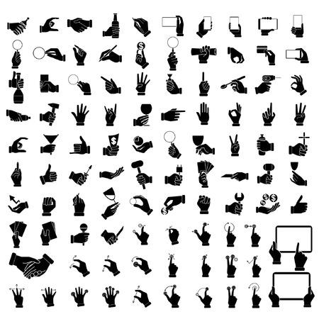 iconos de la mano, sosteniendo objetos de mano conjunto, señales con las manos Ilustración de vector