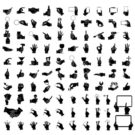 hand icons, hand holding objects set, hand signs Illustration