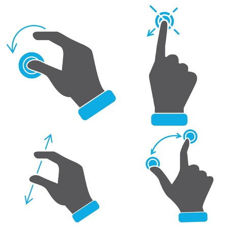 hand touch screen gestures icons Vector