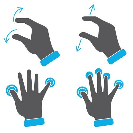 multitouch: hand touch screen gestures icons