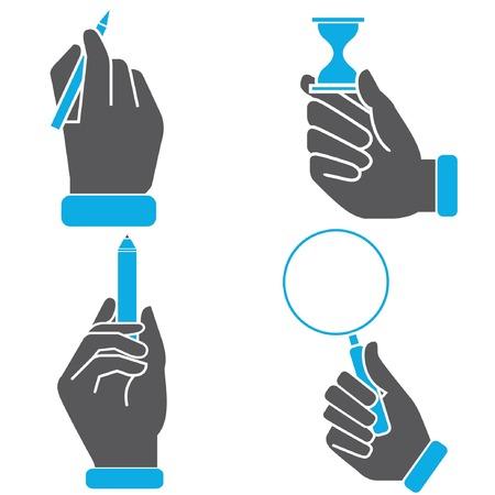 hand holding pen: hand holding pen, magnifier glass