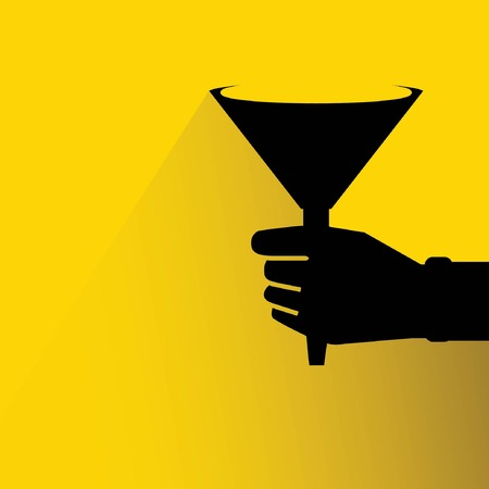 of funnel: hand holding funnel filter