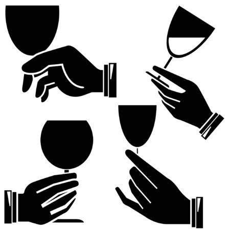 intoxicant: hand holding wine glass set