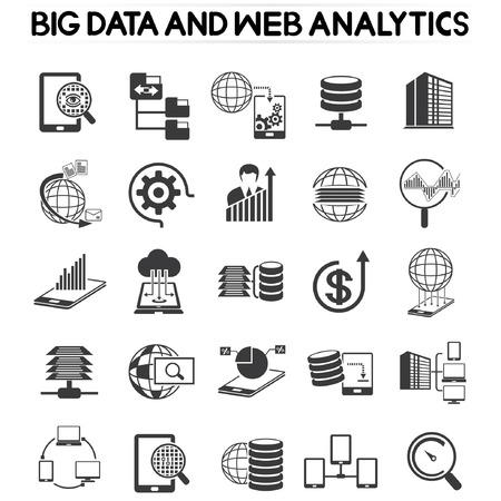 web analytics icons set, big data icons