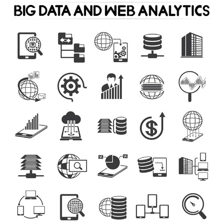 devices: web analytics icons set, big data icons
