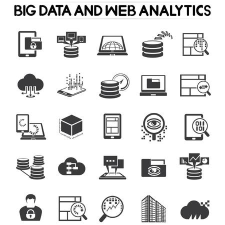analítica web iconos, iconos de datos grandes