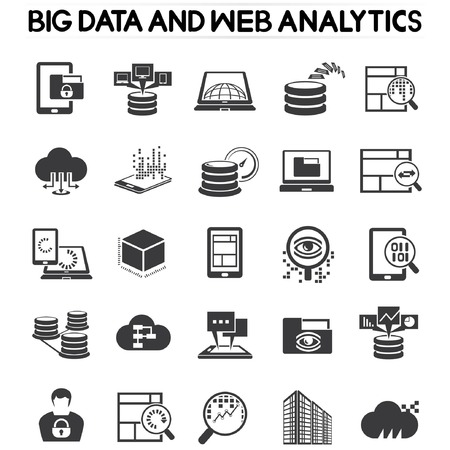 web analytics icons, big data icons Vector