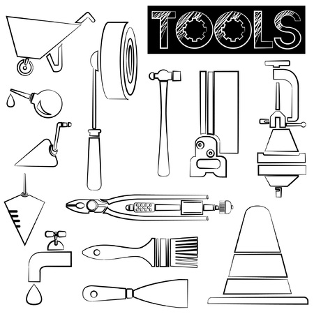 habiliment: tools icons, sketch design