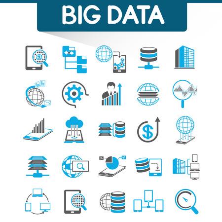 the big: analítica web iconos, iconos de datos grandes Vectores