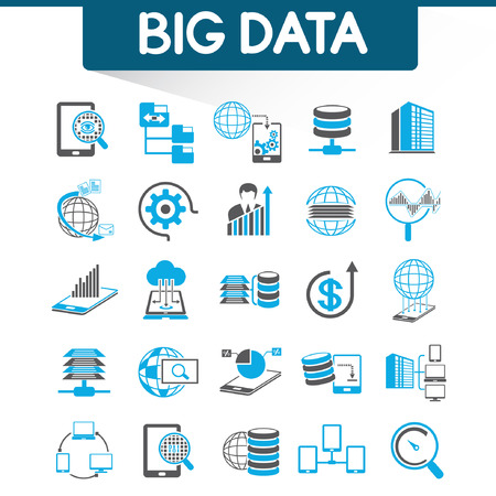 data center: web analytics icons, big data icons