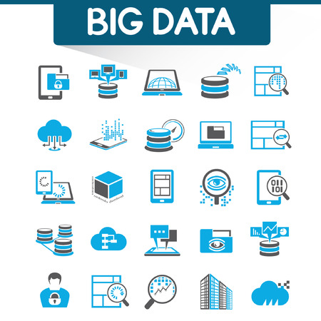 big: web analytics icons, big data icons