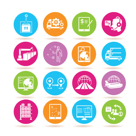 supply chain management icons Çizim