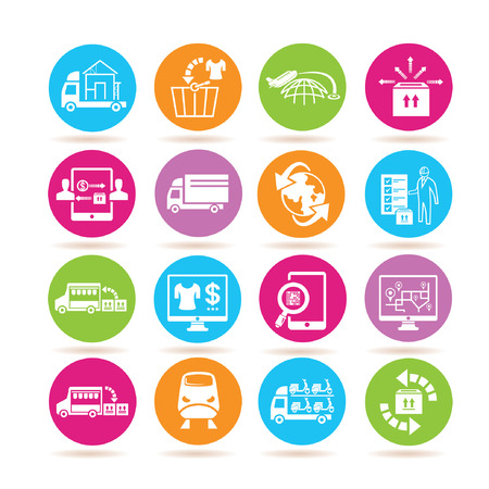 supply chain management icons Vectores