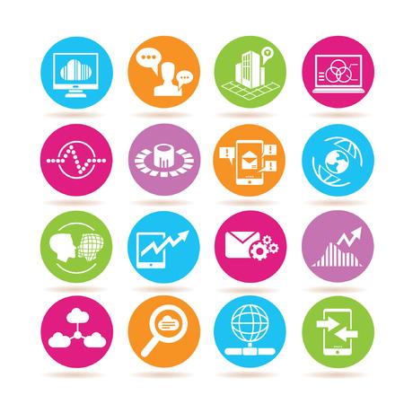 data base: data analytics icons, data analysis icons