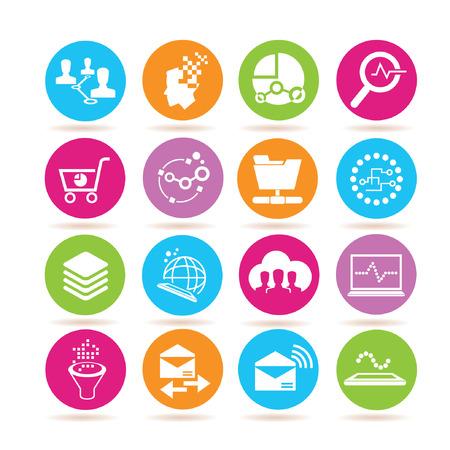data analytics icons, data analysis icons Vector