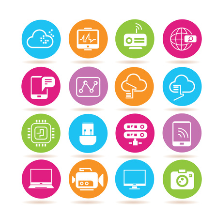 network icons, electronic device icons Vector