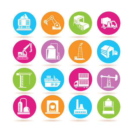production line factory: industrial icons
