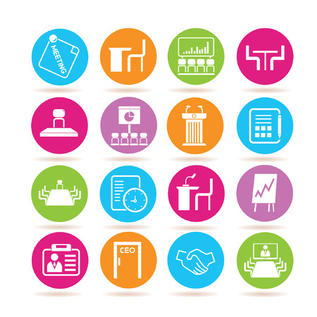 parley: iconos de reuniones de negocios Vectores