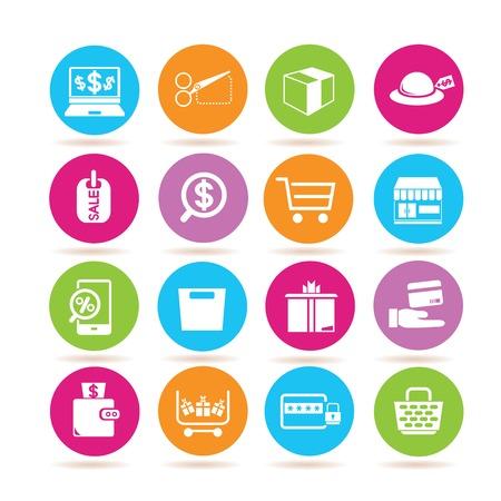 e commerce: e commerce iconen Stock Illustratie