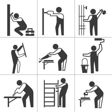 handy men: industrial worker icons